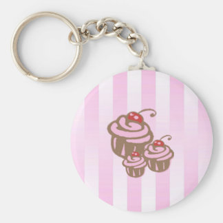 Cupcake and Pink Candy Stripe Keyring Keychains