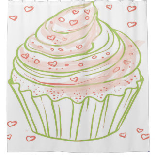 Cupcake and Sprinkles in Pink and Green Shower Curtain