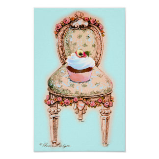 Cupcake and Victorian Chair Poster