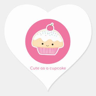 Cupcake, As cute as a cupcake Heart Sticker