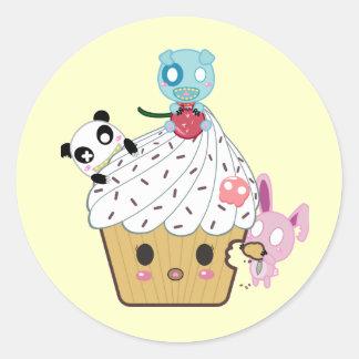 Cupcake Attack! (>_<) Round Sticker
