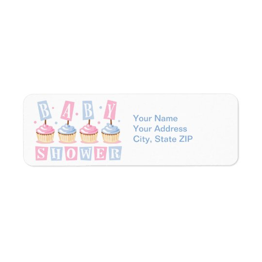 Cupcake Baby Shower Label