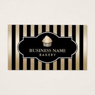 Cupcake Bakery Classy Black & Gold Stripes Modern