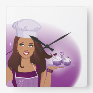 Cupcake Bakery Clock Illustrated