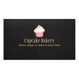 Cupcake Bakery Faux Black Linen Business Card