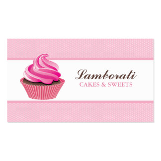 Cupcake Bakery Pink Elegant Modern Cute Double-Sided Standard Business Cards (Pack Of 100)