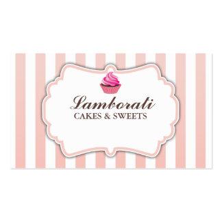 Cupcake Bakery Pink Stripes Cute Elegant Modern Business Card Templates