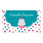 Cupcake Bakery Polka Dots Blue Heart Business Card Template