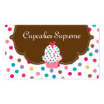 Cupcake Bakery Polka Dots Brown Heart Business Card Templates