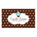 Cupcake Bakery Polka Dots Chocolate Blue Business Card Template