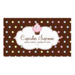 Cupcake Bakery Polka Dots Chocolate Pink Business Card