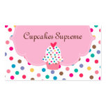 Cupcake Bakery Polka Dots Pink Heart Business Cards