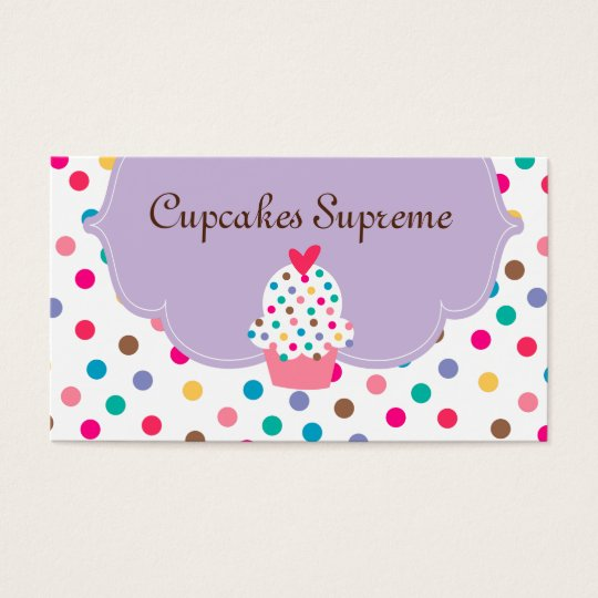 Cupcake Bakery Polka Dots Purple Heart