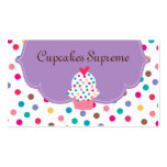 Cupcake Bakery Polka Dots Purple Heart 2 Business Card Templates