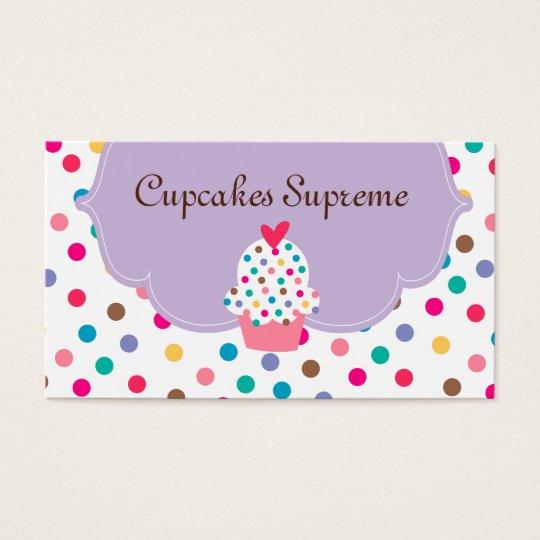 Cupcake Bakery Polka Dots Purple Heart Business Card