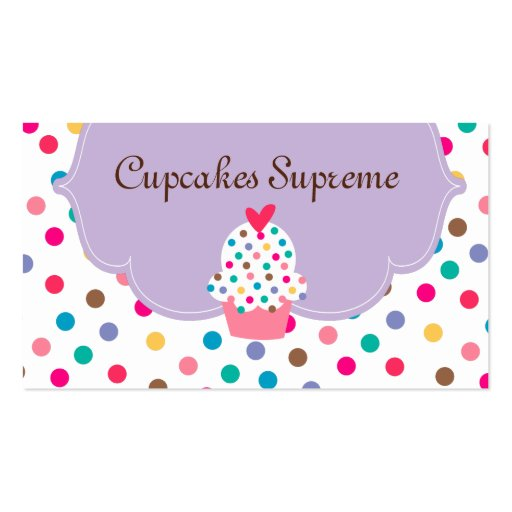 Cupcake Bakery Polka Dots Purple Heart Pack Of Standard Business Cards