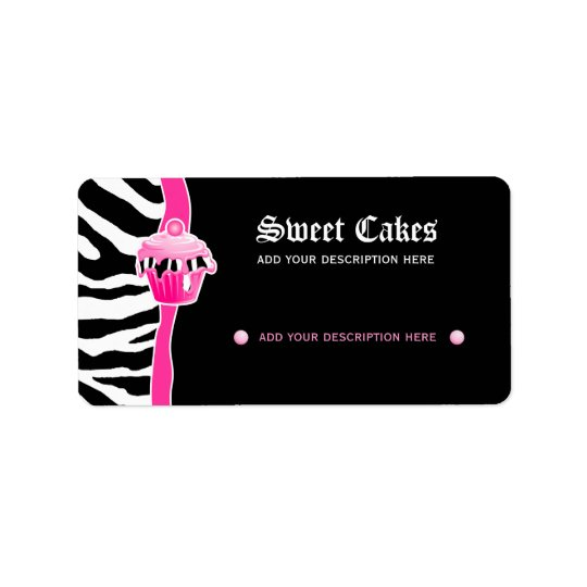 Cupcake bakery price label zebra retro pink 2