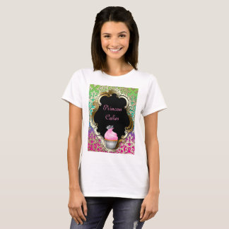 Cupcake Bakery Retro Damask Pink Green T-Shirt