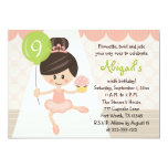 Cupcake Ballerina Birthday Brunette 13 Cm X 18 Cm Invitation Card