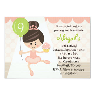Cupcake Ballerina Birthday Brunette 13 Cm X 18 Cm Invitation Card
