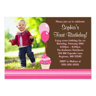 Cupcake Balloons Brown Pink Photo Birthday 13 Cm X 18 Cm Invitation Card