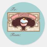 Cupcake Banner Victorian Style Round Stickers