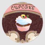 Cupcake Banner Victorian Style Stickers