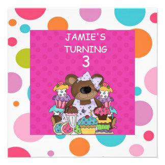 CUPCAKE Bears GIRLS Birthday Party INVITATION