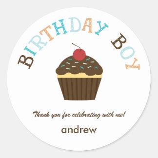 Cupcake Birthday Boy Favor Sticker /Envelope Seal