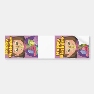 Cupcake birthday girl bumper sticker