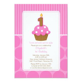 "Cupcake Birthday Invitation 1st Birthday Pink 5"" X 7"" Invitation Card"