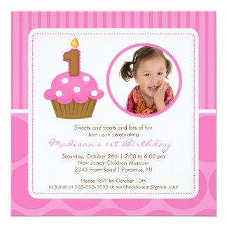 "Cupcake Birthday Invitation 1st Birthday Pink 5.25"" Square Invitation Card"