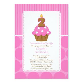 "Cupcake Birthday Invitation 2nd Birthday Pink 5"" X 7"" Invitation Card"