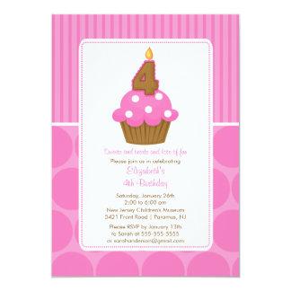Cupcake Birthday Invitation 4th Birthday Pink