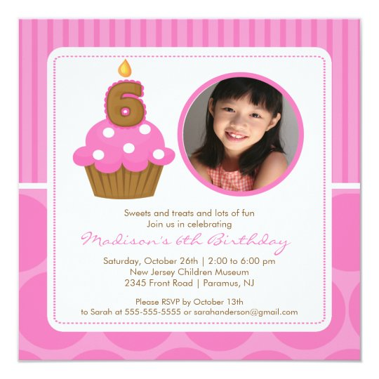 6 Birthday Card Templates: Cupcake Birthday Invitation 6th Birthday Pink
