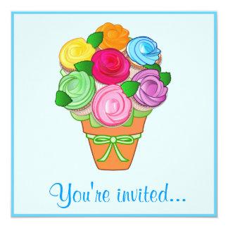 Cupcake Bouquet Anniversary Party Custom Invite