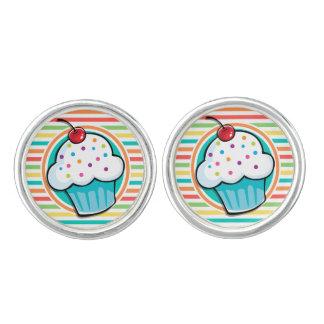 Cupcake; Bright Rainbow Stripes Cuff Links