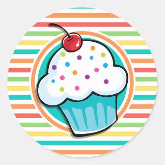 Cupcake Bright Rainbow Stripes Round Stickers