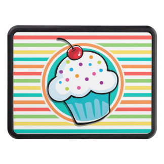 Cupcake; Bright Rainbow Stripes Trailer Hitch Cover
