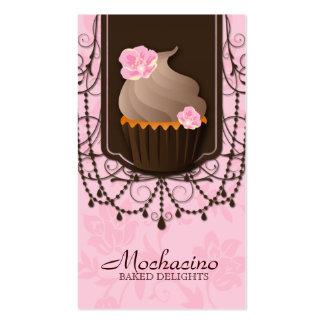 Cupcake Business Card Flower Pink Brown Pearl