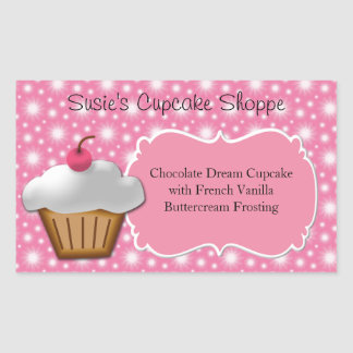 Cupcake Business or Box Label, Pink and White Rectangular Sticker
