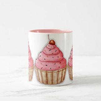 Cupcake Caffee Mug, Tasty  Cherry Cupcakes Two-Tone Mug