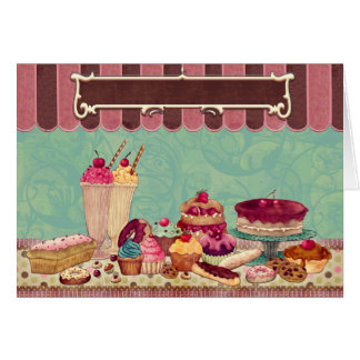 Cupcake Cake Party Sign Banner Greeting Card