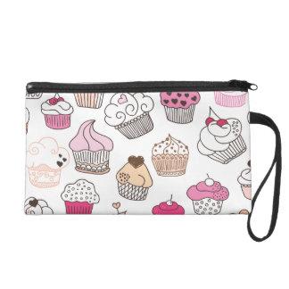 Cupcake candy illustration pattern wristlet