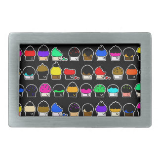 Cupcake Cavalcade – Colorful Repeating Pattern Rectangular Belt Buckle