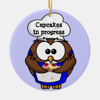 cupcake chef owl christmas tree ornament