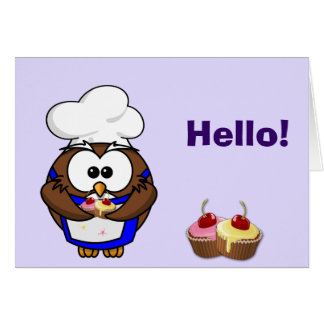 cupcake chef owl greeting card