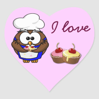 cupcake chef owl heart sticker
