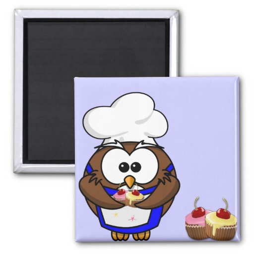 cupcake chef owl magnet