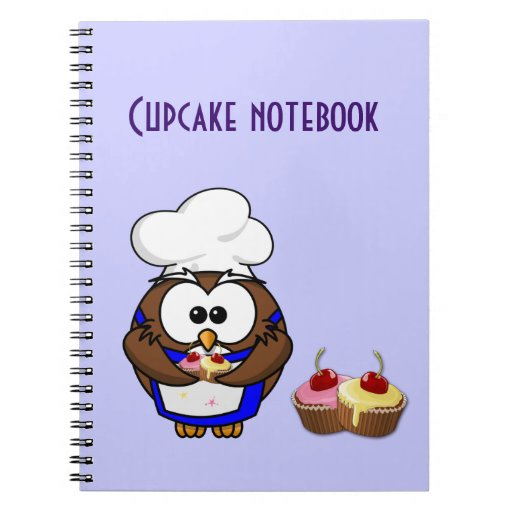 cupcake chef owl spiral note book